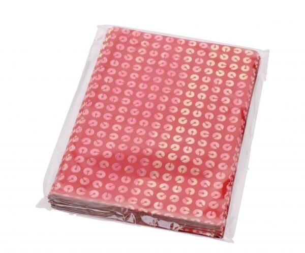 Kinkekott fooliumist 16 x 25cm punane rõngastega 50tk/pakis