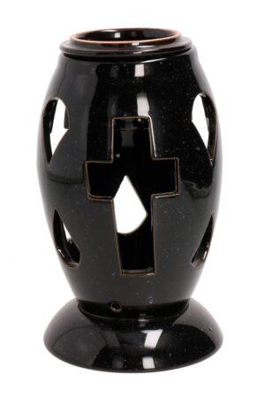 Kalmuküünla-alus külmakindel keraamika 22cm must
