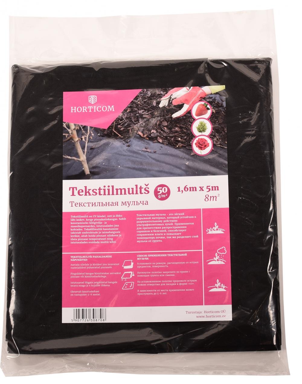 Tekstiilmultš Horticom 50g/m2 1;6 x 5m 8m2