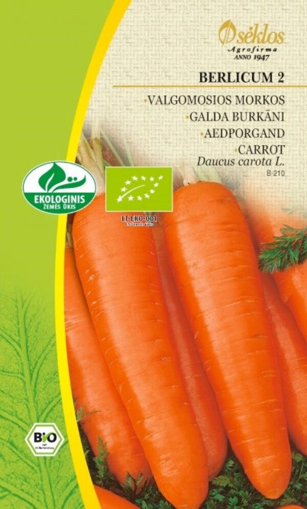 Porgand Berlicum 2 ökoseeme - Daucus carota L.