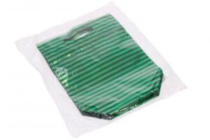 Kinkekott sulguriga 200 x 195mm + 55 x 100mm roheline triip 12tk/pakis