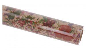 Pakkepaber Bolis 70cm x 25m pruunil põhjal suvelilled