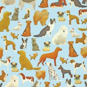 Pakkepaber 70cm x 25m helesinisel põhjal koerad