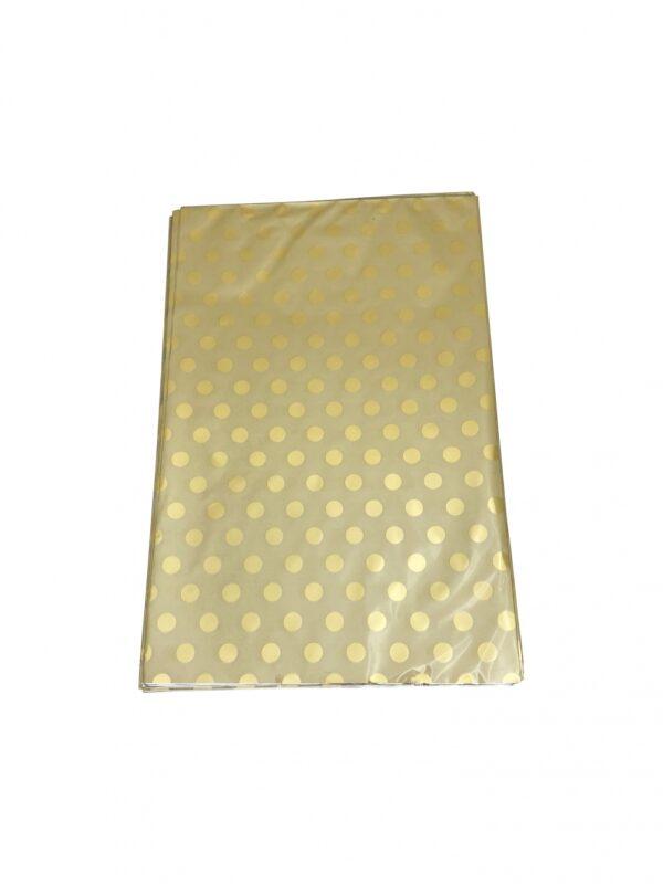 Kinkekott fooliumist 25 x 40cm kuldne kuldsed täpid 50tk/pakis