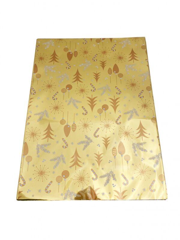 Kinkekott fooliumist 35 x 50cm kuldne kuused-ehted 50tk/pakis